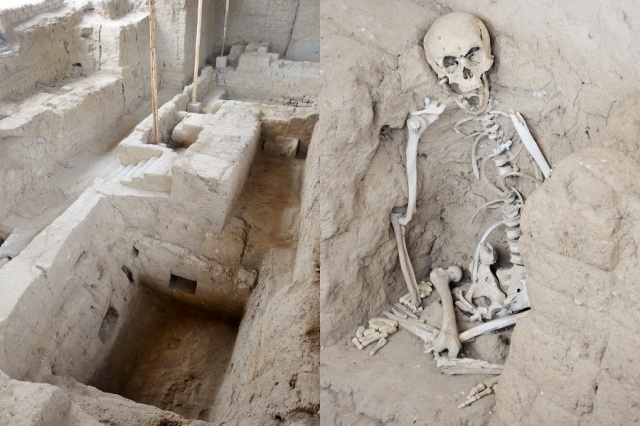 One of the tombs (left) & another with a guard in position (right)