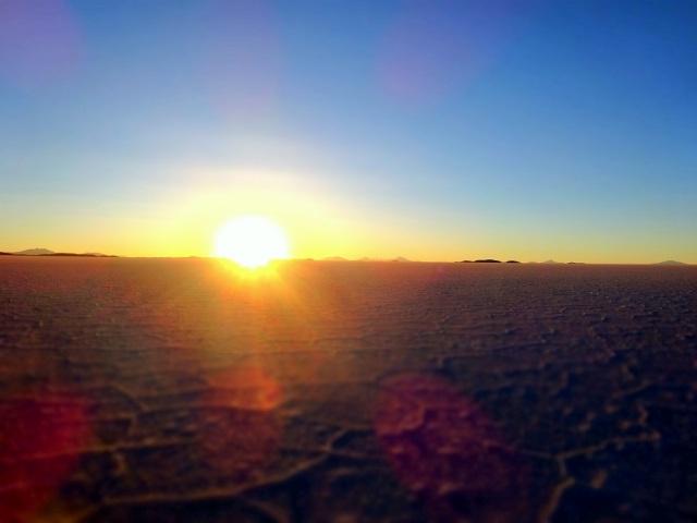 The sun sets on our time on the Salar de Uyuni