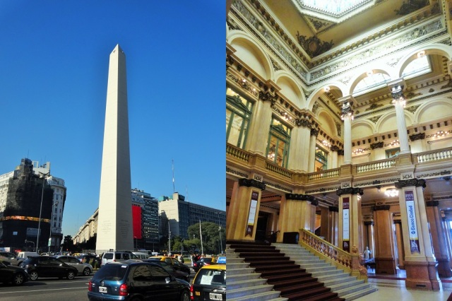 The iconic Obelisco (left) & Entering the foyer of the gorgeous Teatro Colon (right)