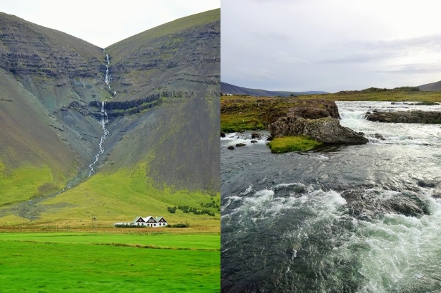 On the road amidst Icelands stunning landscapes (left) & The glacial river Laxa in Kjos (right)